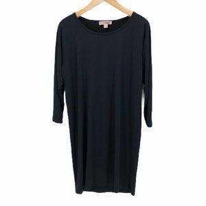 Michael Kors Womens Basic Shift Dress Black Midi L